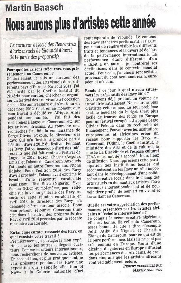interview dans Mosaïque, de Martin Baasch, curateur associé des RAVY 2014 lors de la réunion préparatoire de janvier dernier à Yaoundé